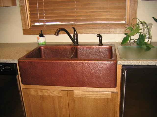 Mountain Rustic Handmade Copper Sinks Double Basin Farm Front Copper Sink