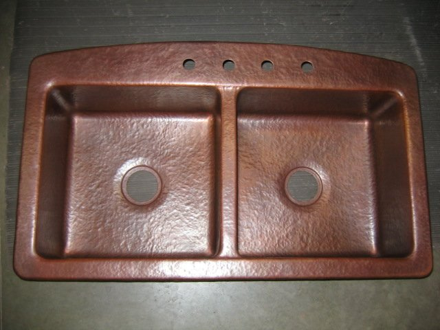 Mountain Rustic Copper Kitchen Sink Double Basin Surface Mount