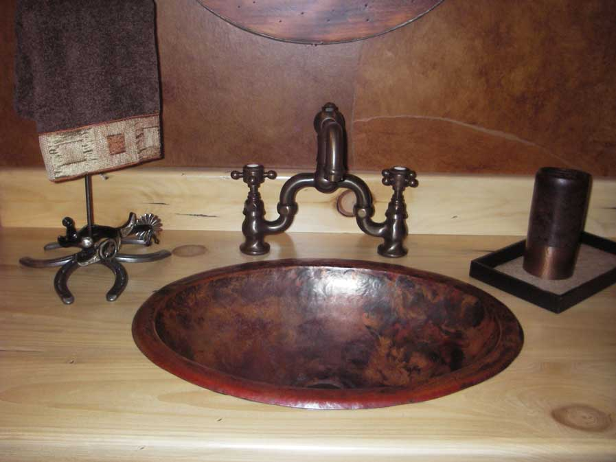 Captivating Custom Copper Sink Oval Valley Bowl