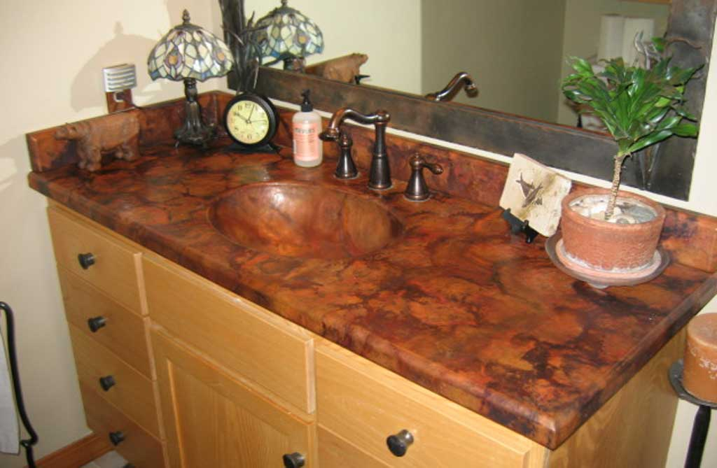 Custom Copper Vanity Counter Top With Integrated Oval Valley Bowl