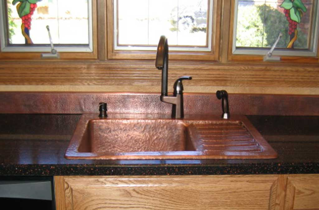 Mountain Rustic Copper Kitchen Drain Board Sink