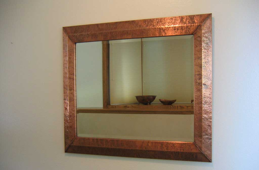 Rustic Hand Hammered Copper Mirror