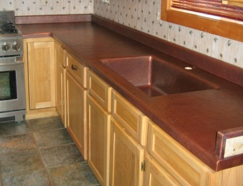 . Custom Copper Kitchen Counters with Integrated Copper Sink