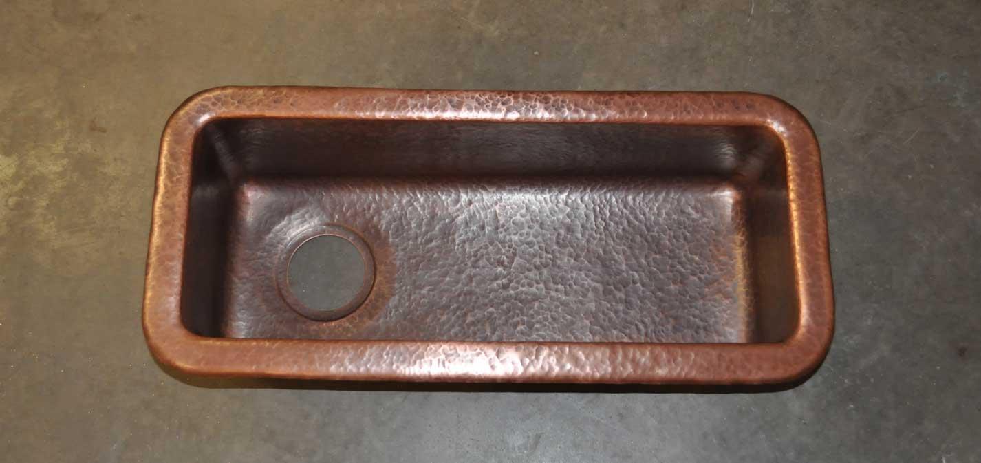 Hand Hammered Copper Bar Trough Sink