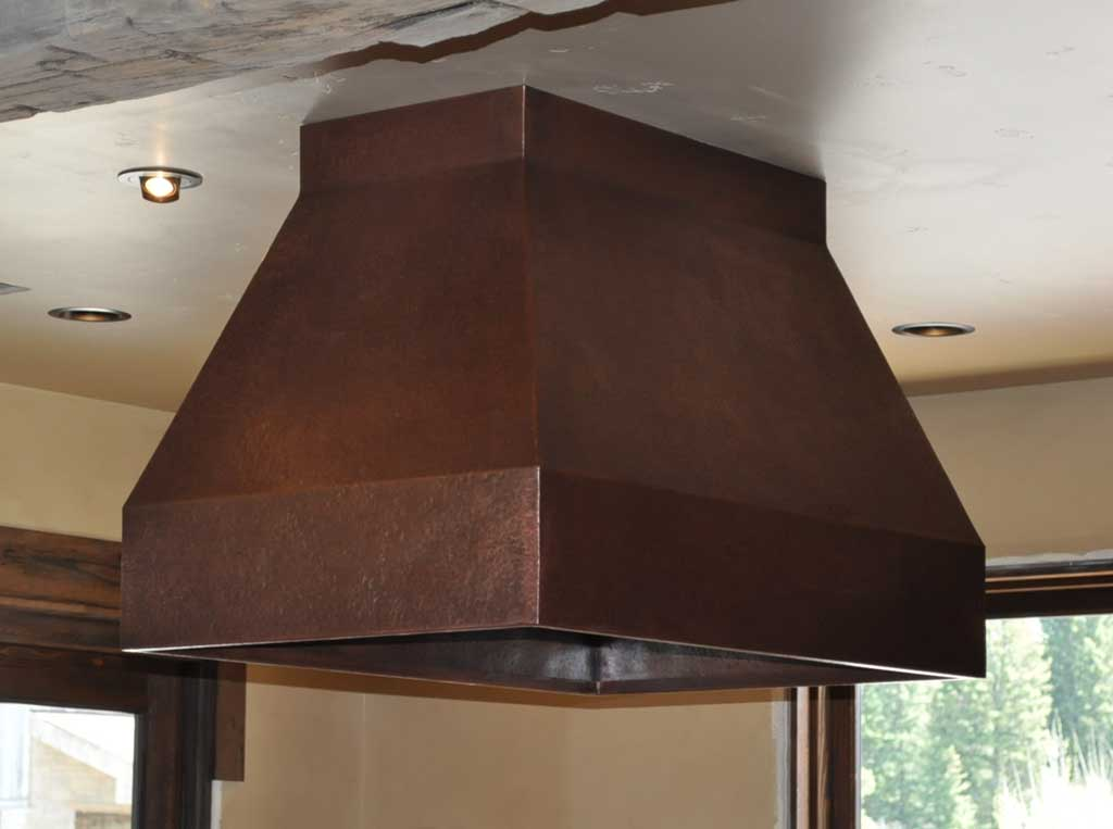 Rustic Copper Range Hood With Custom Copper Counter Tops