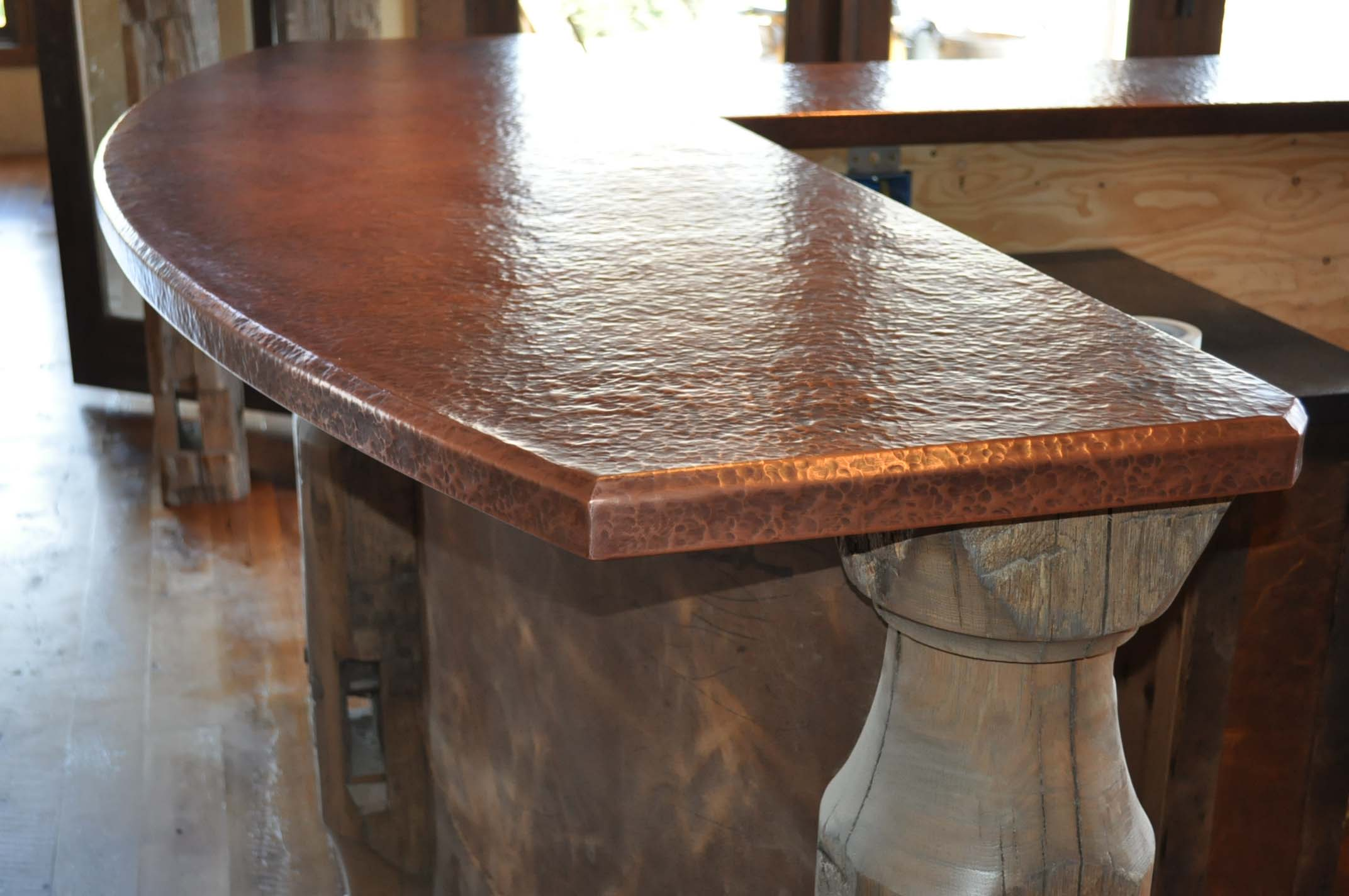 Rustic copper bar counter top basement bars pinterest Copper countertops cost