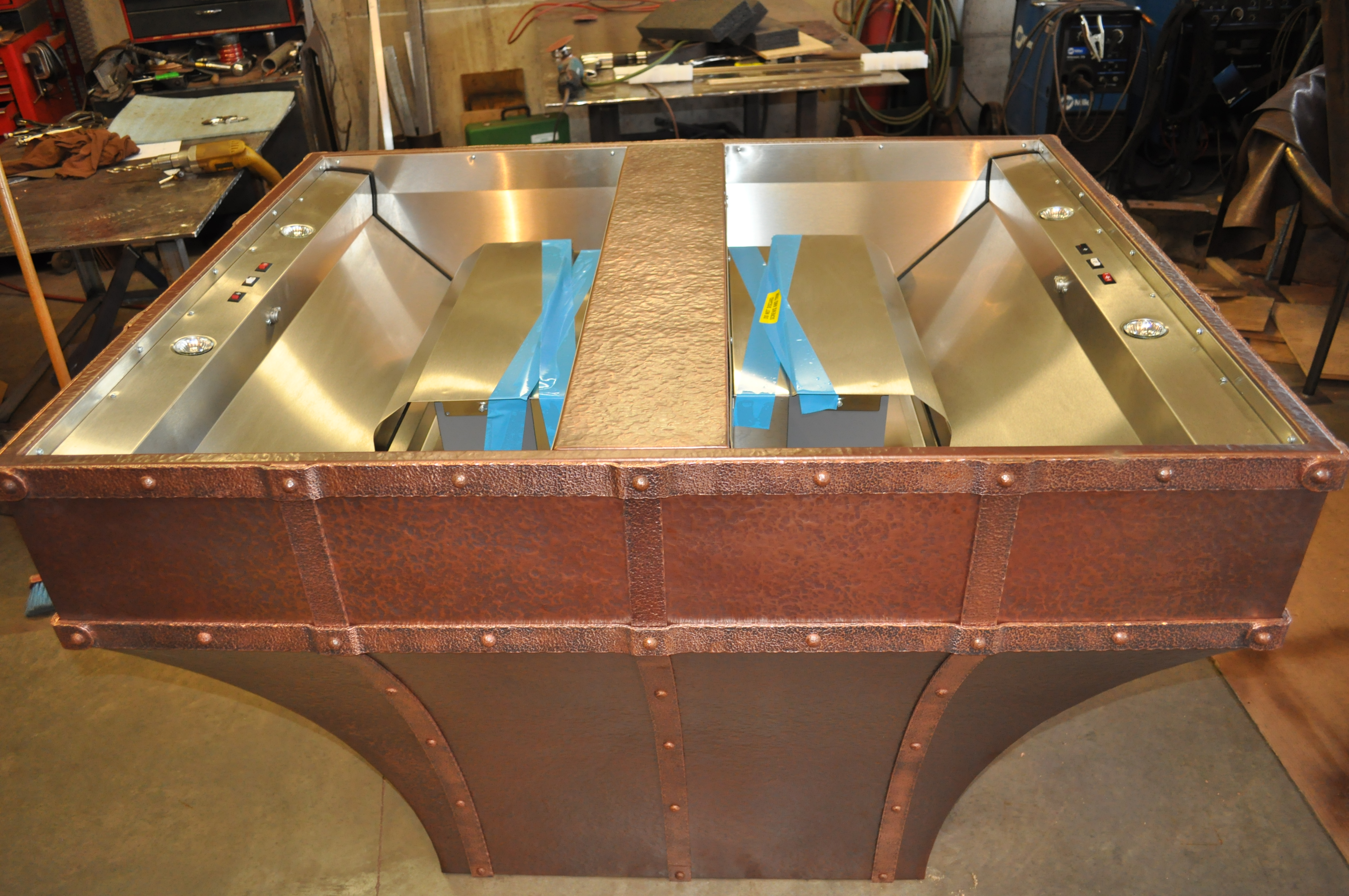 The Texas Rustic Copper Range Hood Hand Crafted
