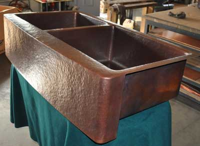 Mountain Rustic Copper Kitchen Sink Double Basin Radius Farm Front Zoom In Read More