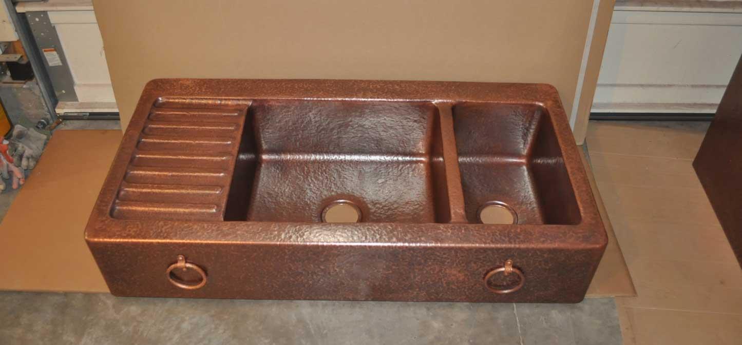 Rustic Copper Sink Farm Front-double basins / drain board