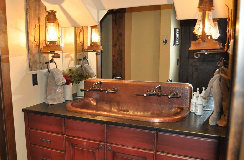 Copper trough sink high back built to order mountain copper creations for Bathroom sink backing up into tub