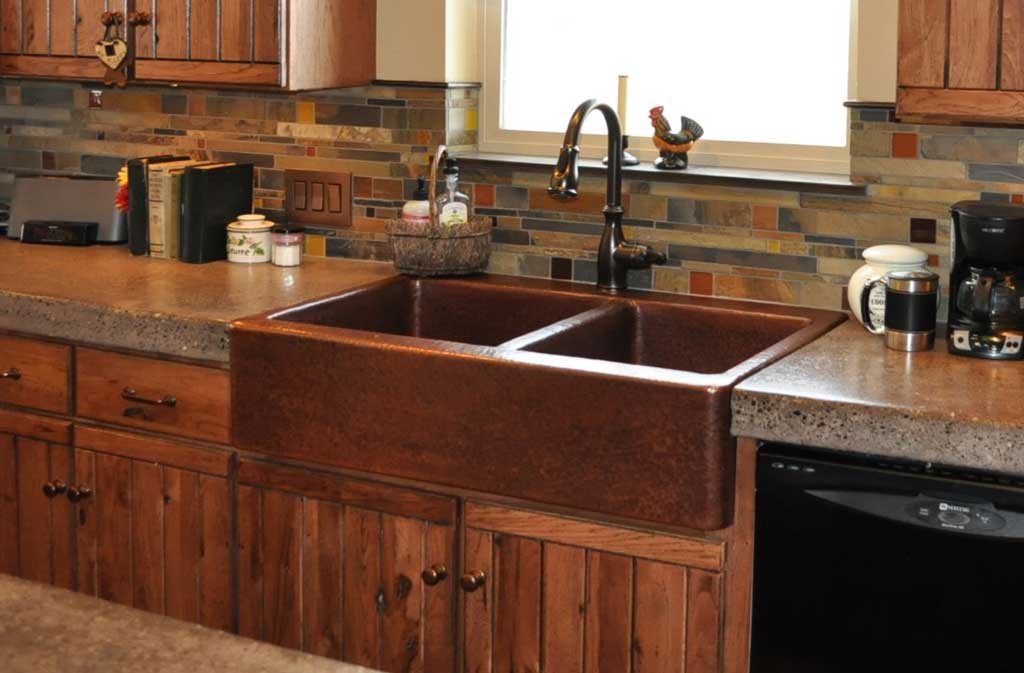 Mountain Rustic Farm Front Copper Kitchen Sink Mountain