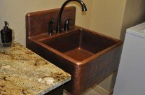 High Back Copper Sink