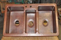 Copper Sink Triple Basins