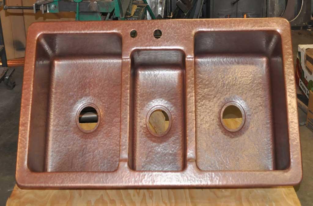 Copper Sink Triple Basins