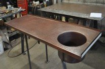 Antique Copper Hand Hammered Round Bar Sink Integrated Counter top