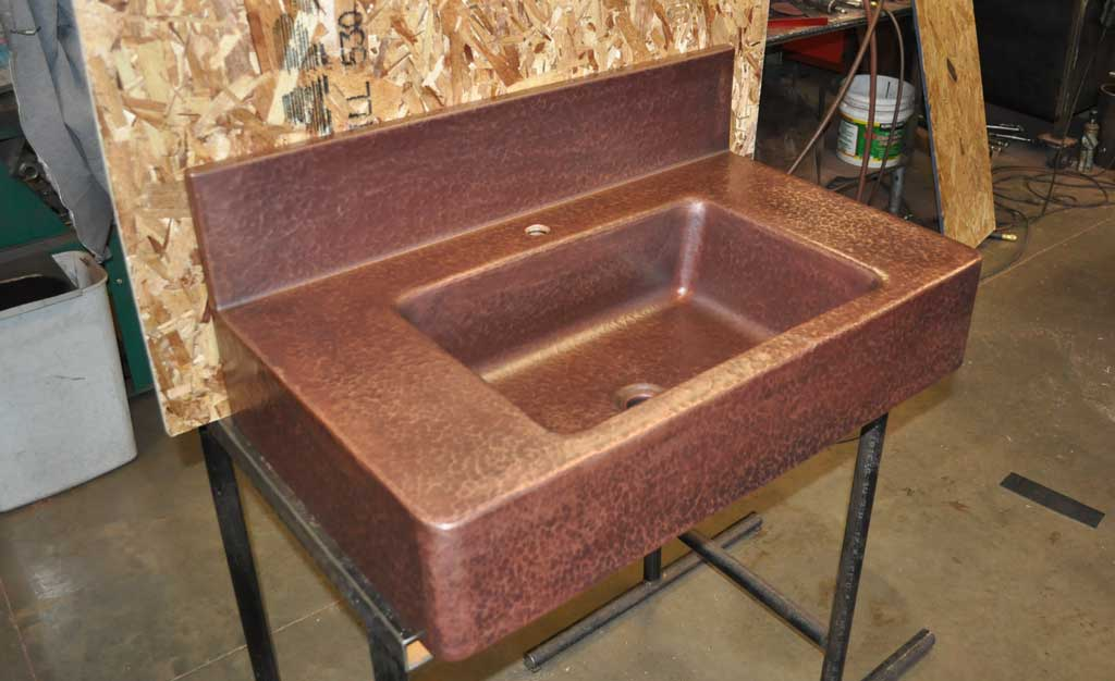 Copper Sink Sloped Sides Counter Top Mountain Copper