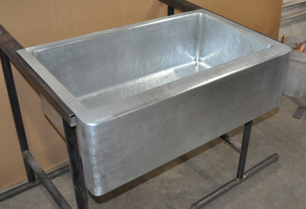 Zinc Farm Sink Single Basin Hand Hammered