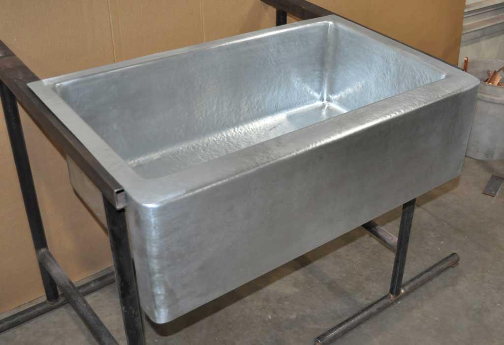 Superieur Zinc Farm Sink Single Basin Hand Hammered