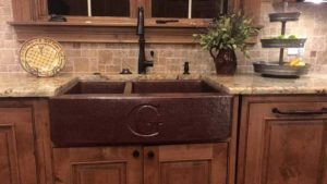 Under mount farm branded copper sink