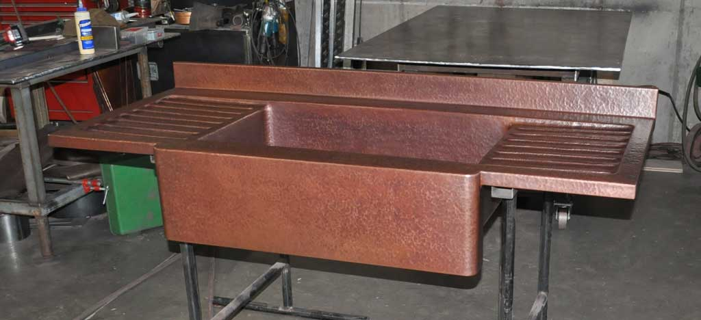 Copper Drain Board Farm Sink