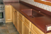 Custom Copper Kitchen Counters with Integrated Copper Sink