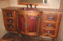 Rustic Copper Sink Barn Wood Vanity